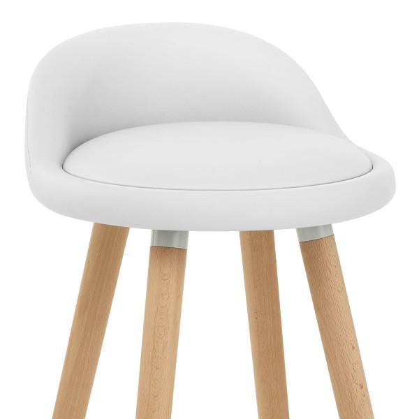 Kunstleder Holzbarhocker - Jive Weiß