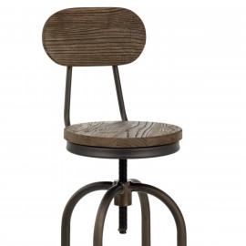 Barhocker - Dunkler Holzsitz - Vintage Swivel