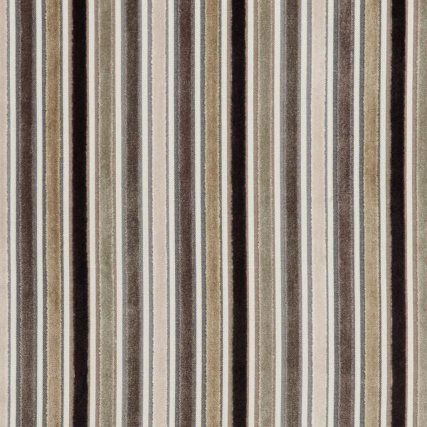 Stoff Holzbarhocker Braun/Beige Gestreift - Carter