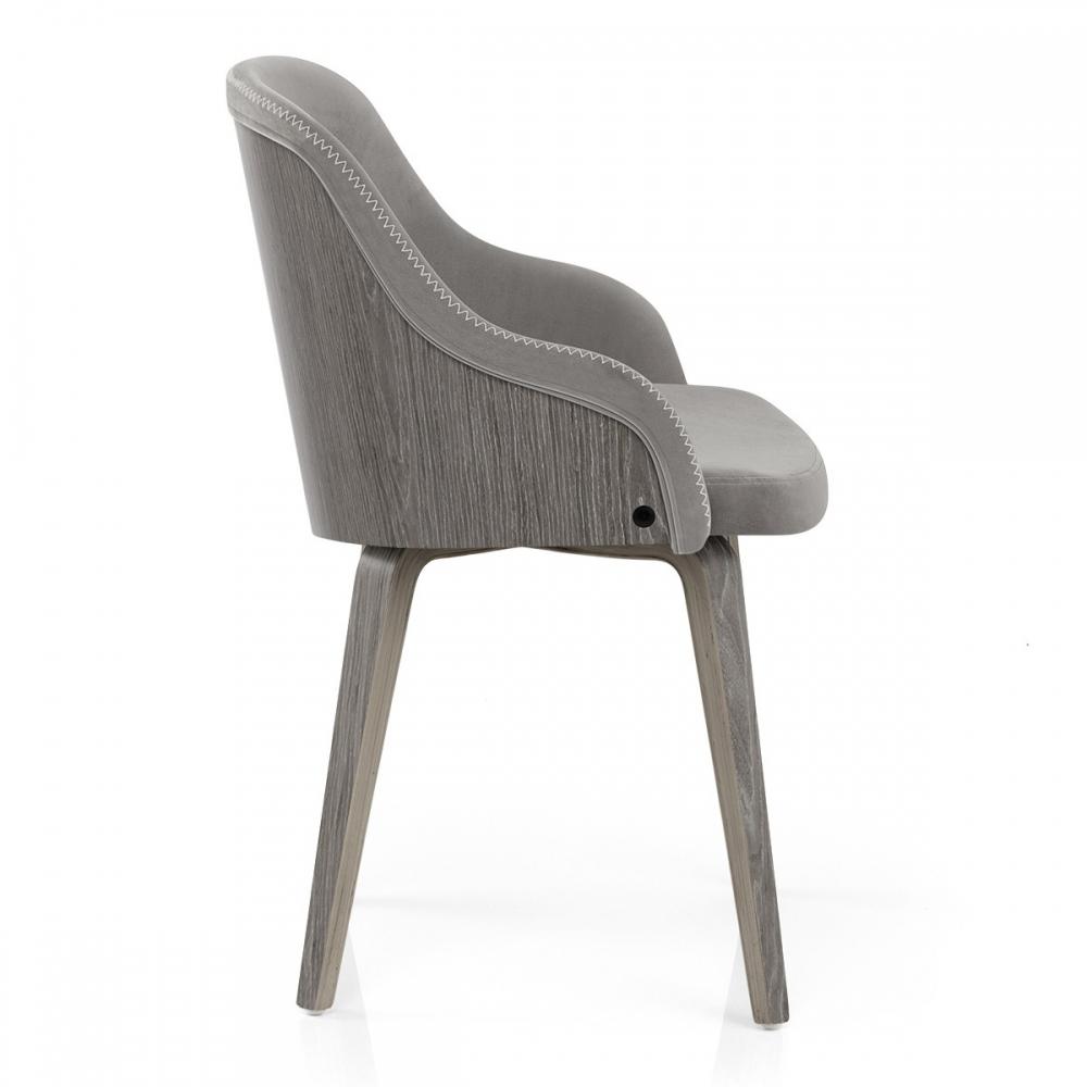Genial Stuhl Holz Dekoration Von Samt - Fusion Grau