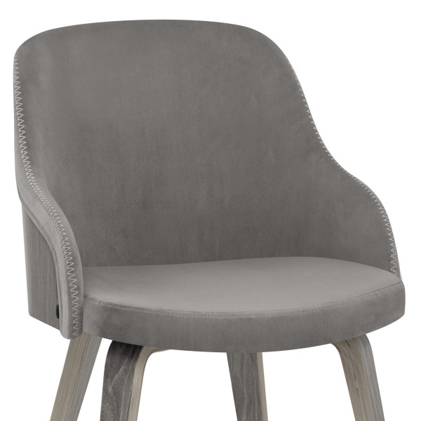 Samt Stuhl - Fusion Holz Grau