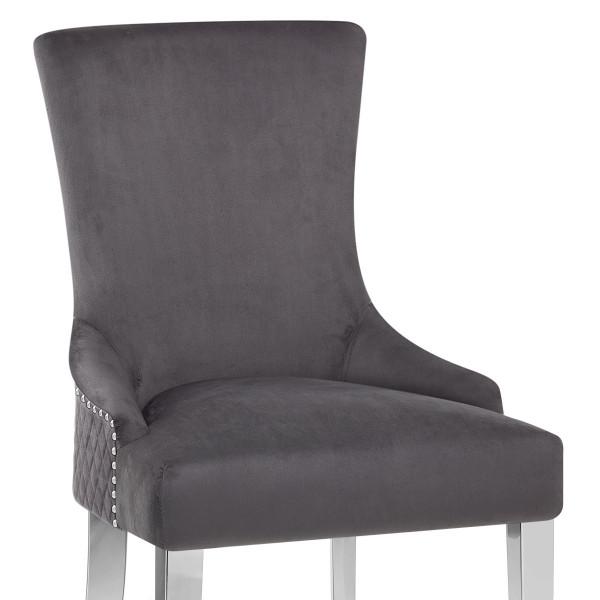 Samt Stuhl Chrome - Fontaine Grau